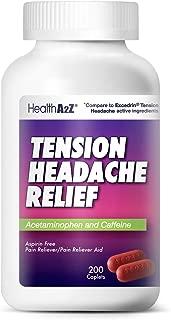 HealthA2Z Tension Headache Relief, Aspirin Free, Compare to Excedrin Active Ingredient, 200 Caplets