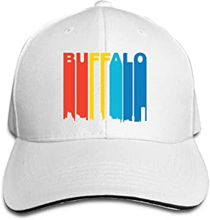 Unisex Vintage 1970s Buffalo New York Cityscape Snapback Hat Adjustable Peaked Sandwich Cap