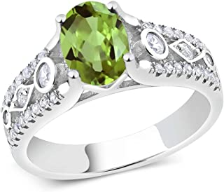 Gem Stone King 925 Sterling Silver Green Peridot Women's Engagement Ring 1.89 Ct Oval Gemstone Birthstone (Available 5,6,7,8,9)
