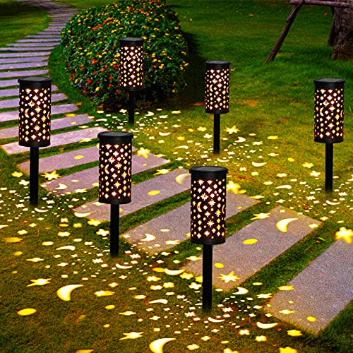 Lampes Solaires Jardin GolWof 6 Pièces Éclairage Solaire Extérieur Étanche Lumière Solaire Extérieure à LED Éclairage Solaire Jardin Décoration pour Allée Chemin Terrasse Pelouse Paysage Fête Noël