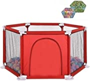 SXXDERTY-playard Baby Play Yards Fence Foldable Safe Play Yard Play Pen with Games  amp  Gates for Infants with 200 Ocean Balls and Crawling Mat for Indoors  Red and Blue Hexagon