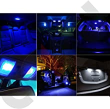 SCITOO LED Interior Lights 15pcs Blue Package Kit Accessories Replacement for 2014-2016 Mazda 6