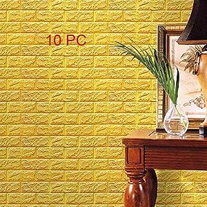 3D Pegatinas de pared de Piedra de ladrillo imitada, Tefamore DIY Decoración de pared de Espuma de PE de Grabado en relieve Fondo de Pantalla 60 X 60 X 0.8cm (10 PC Amarillo 01)