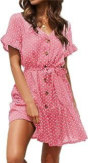 Womens Polka Dot Button Down Dress Boho Short Sleeve Ruffle Mini Dresses with Belt