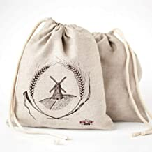 Linen Bread Bags - 2-Pack 30 x 40 Speical Art Design Natural Unbleached Linen Reusable Food Storage for Homemade Artisan B...