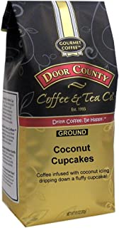 Door County Coffee, Coconut Cupcakes, Coconut and Cupcake Flavored Coffee, Medium Roast, Ground Coffee, 10 oz Bag