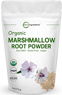 Pure USDA Organic Marshmallow Root Powder, 4 Ounce, Supports Digestive Gastrointestinal Health, No Irradiated, No Contamin...