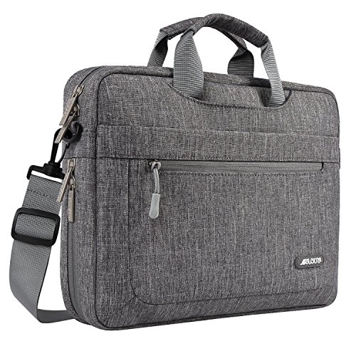 MOSISO Laptop Briefcase Shoulder Bag Compatible with 13-13.3 inch MacBook Pro, MacBook Air, Notebook Computer Polyester Messenger Carrying Sleeve with Adjustable Depth at Bottom, Gray