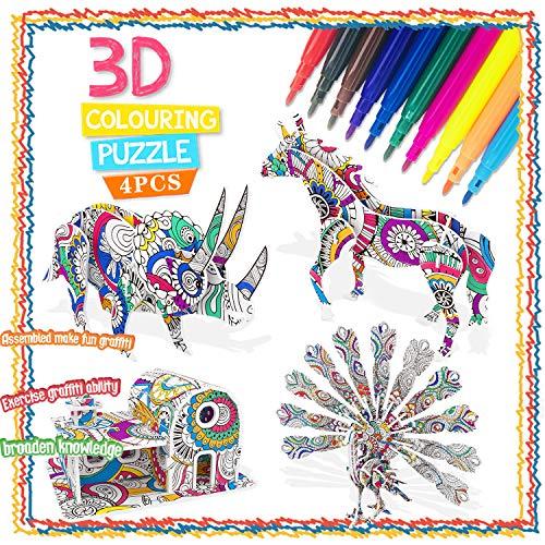 Bylark Juego de Rompecabezas para Niños de 5 a 10 Años, Rompecabezas en 3D para Niños de 4 a 12 Años Pintura DIY Rompecabezas para Niñas Arte 3D Puzzke Regalo de Cumpleaños Edad 6 7 8 9 10 Niño Niñas