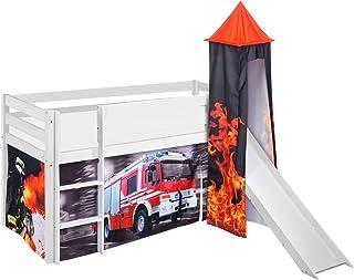 Lilokids Jelle Pompiers Lit mezzanine Blanc avec tour, toboggan et rideau