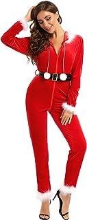 iiniim Disfraz de Navidad Mujer Bodysuit Mono de Mamá Noél con Capucha Cremallera Frente Manga Larga Pantalones Largos