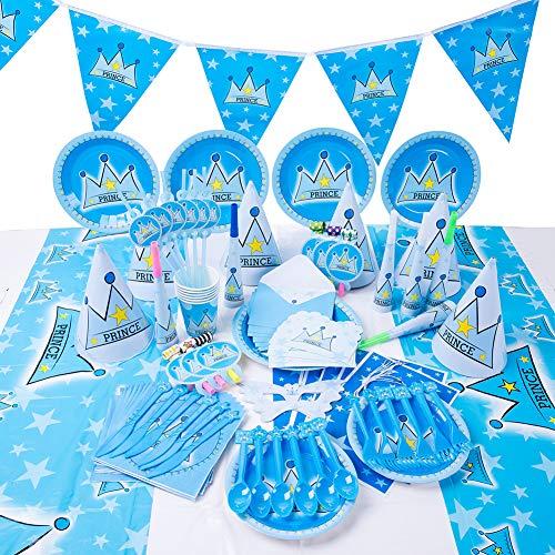 Prinz Krone Party Supplies Set Geschirr servieren 16 Gäste Jungen Mädchen Geburtstag Dekorationen Teller Tassen Servietten Tischtuch Papier Banner Babydusche (90PCS)