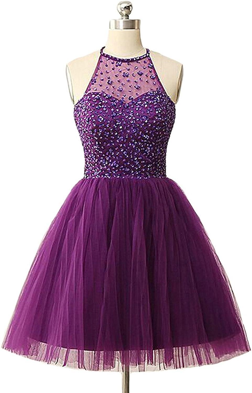 Dearta Women's ALine Halter Neck Short Mini Sequins Beadings Homecoming Dresses