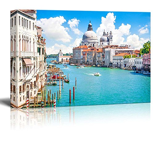 "Canvas Prints Wall Art - Beautiful Landscape/Scenery Grand Canal with Basilica Di Santa Maria Della Salute, Venice, Italy | Modern Wall Decor Stretched Gallery Canvas Wrap Giclee 24"" x 36"""