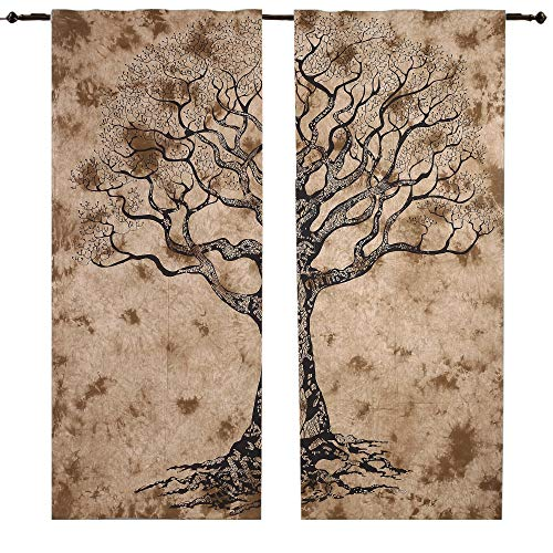 Set di 2 Tende Decorate con Albero, Marroni, da Appendere al Muro, Mandala, 208 cm di Lunghezza, Tende in Stile Boho, Drappi, Tende Indiane per Finestre