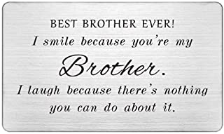 Best Brother Ever, Engraved Wallet Card Insert, Funny Gifts for Brother, I Smile Because You're My Brother, Brother Gifts ...