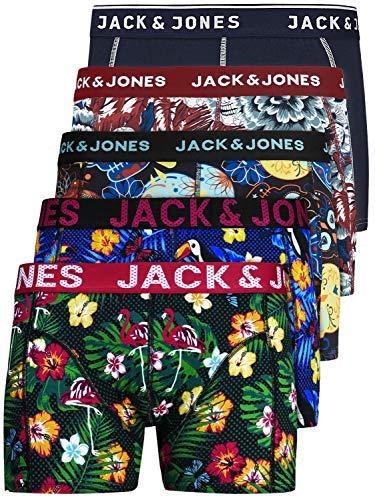 JACK & JONES Herren Unterhosen 5er Set / Pack Sale Männer Marken Boxershorts Weiss schwarz blau grau Shorts Trunks 95% Baumwolle S M L XL XXL (M, 5er Pack Print 1)