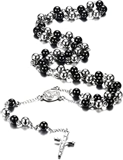 VNOX Stainless Steel Rosary Beads Catholic Crucifix Long Chain Cross Necklace,Black and