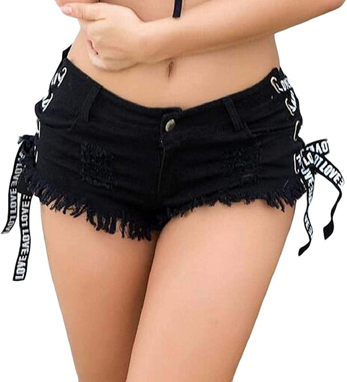 JNBGYAPS Women High Waisted Hollow Out Cutoff Ripped Holes Sexy Lace Up Thong Denim Shorts Jeans Shorts