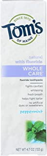 Tom's of Maine Whole Care with Fluoride Natural Toothpaste, Peppermint 4 oz (Pack of 6)