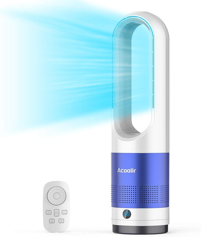 Ventilador de torre sin aspas, ventilador de refrigeración oscilante de 80 ° con control remoto, 8 velocidades, temporizador de 8 horas, pantalla LED, Ventilador portátil sin hojas que ahorra espacio