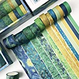 Cintas Washi Tape, 12 Rollos Cinta Washi Tape Pastel, Cintas Adhesivas Decorativas, Washi Tape 3m Cada Rollo, para Bricolaje, Diario, Envoltura, Calendarios (Ancho 10mm, 15mm, 20mm, 30mm, Verde)