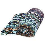 Bohemian Style Sofa Throws Warm Thick Armchair Cover Soft Blanket, 130 cm x 160 cm (Blue)