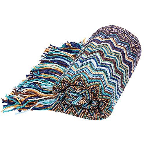 Bohemian Stil Dicke Warm Sofa-Überwurf, Sessel, aus Baumwolle mit Decke, 130x 160cm blau