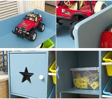 ZXY-NAN Large Capacity Children's Toy Storage Rack, 100% Wooden, Children's Locker with 12 Plastic Buckets and 1 Stor