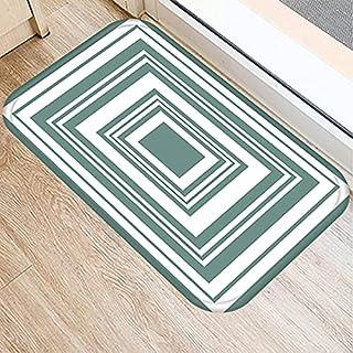 OPLJ Green Geometric Pattern Anti-Slip Suede Carpet Door Mat Doormat Outdoor Kitchen Living Room Floor Mat Rug A20 40x60cm