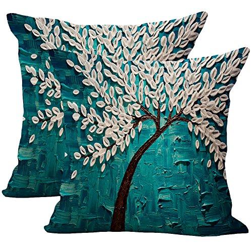 JOTOM Baumwolle Leinen Kissenbezug Ölgemälde Baum Blumen Dekokissen 45 x 45cm 2er Set (Blaue weiße Blätter)