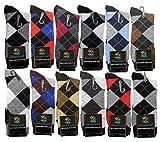 USBingoshopTM Mens Cotton Dress Socks (10-13, Argyle) Pack of 12