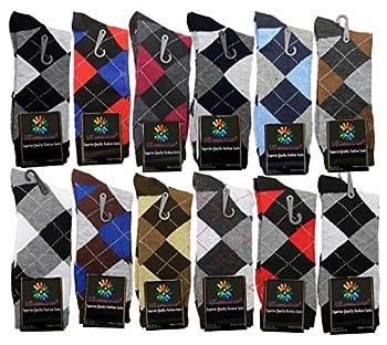 USBingoshopTM Mens Cotton Dress Socks  10-13 Argyle  Pack of 12