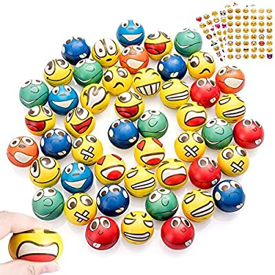 Shallylu 48Pcs Emoji Stress Balls, Stress Reliver Party Favors Emoji Face Squeeze Foam Ball Toys for Birthday, Holiday, Therapy Gift with 4 Sheets Emoji Stickers (Emoji)