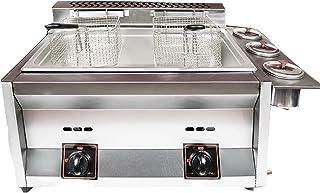 Friteuse à gaz en Acier Inoxydable, friteuse électrique Commerciale à Double Fente 10L * 2 d'épaisseuravec Couvercle de Pa...