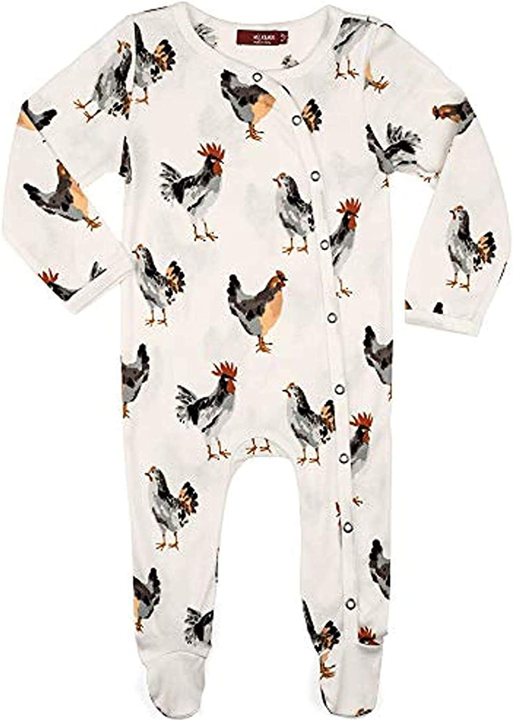 Max 90% OFF MilkBarn Organic Cotton Footed Romper Large special price White Chickens