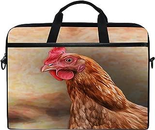 WXLIFE Vintage Animal Rooster Chicken Cock 13 13.3 14 Inch Laptop Shoulder Messenger Bag Case Sleeve Briefcase with Handle Strap for Men Women Boys Girls