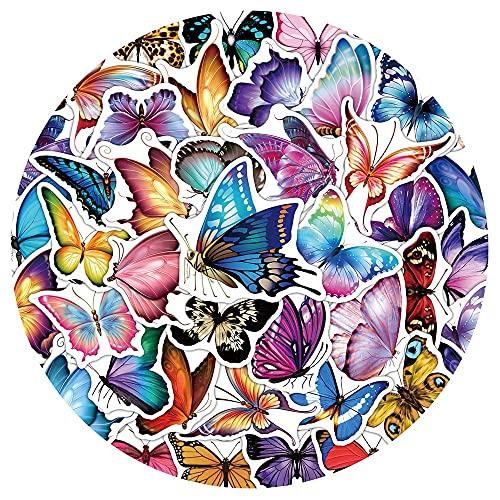 SHUYE Pretty Colorful Butterfly Animal Stickers Fridge Phone Guitar Motorcycle Luggage Waterproof Cartoon Sticker Decal50Pcs
