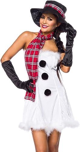 AT 5-tlg. Weißnachts-Kostüm  Snow Girl  Weiß Christmas Schneefrau Set aus Kleid, Schal, Hut, Handschuhe in Weiß Schwarz Gr. XS-M (32-38)