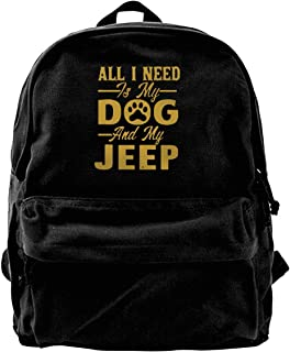 Mochila de lona All I Need Is My Dog And My Jeep Mochila de gimnasio, senderismo, portátil, bolsa de hombro para hombres y...