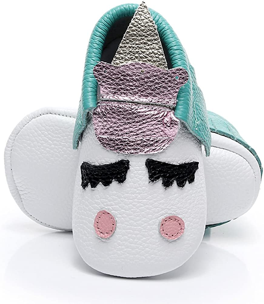 HONGTEYA Leather Baby Moccasins - Golden Unicorn Girl Baby Shoes Boys Soft Sole Slippers