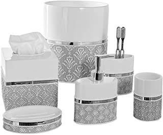 Creative Scents Mirror Damask 6-Piece Bathroom Accessory Set- Includes Decorative Soap Dispenser/Soap Dish/Tumbler/Toothbr...