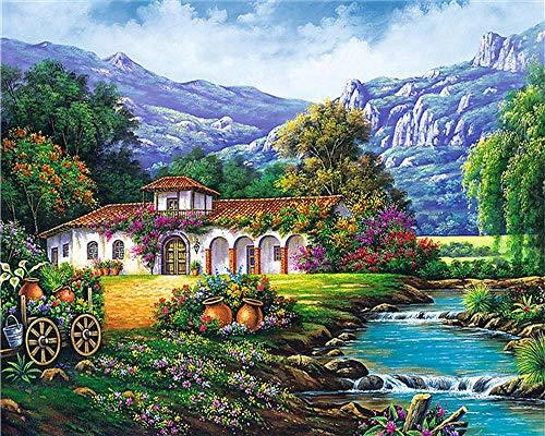Pintura por números,Alpine Garden Creek Lodge La pintura po