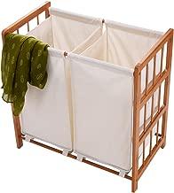 barebear70 New Household Bamboo Frame Laundry Sorter Hamper Clothes Storage Basket Bin w/Bag