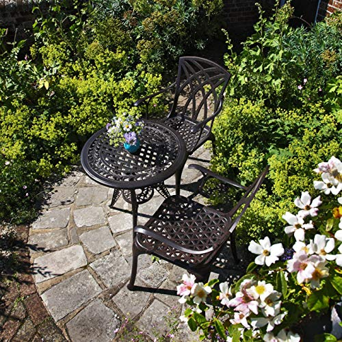 Lazy Susan Ivy 63cm Round Garden Table in Antique Bronze with 2 April Chairs and 2 Blue seat pad cushions | Garden | Cast Aluminium | Rust Proof | Easy Assembly | Weatherproof | 12 Month Warranty