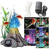 Aquarium Air Stone Blasen Licht Aquarium Air Stone Disc mit 6 Farbwechselnden LEDs Aquarium...