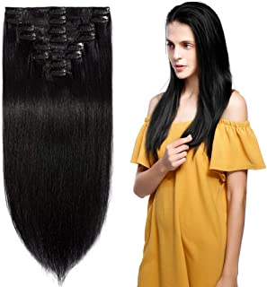 13 inch 80g Clip in Remy Human Hair Extensions Full Head 8 Pieces Set Short length Straight Very Soft Style Real Silky for Beauty #1 Jet Black