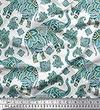 Soimoi Blau strahlkrepp Stoff Paisley & Stammes-Elefant