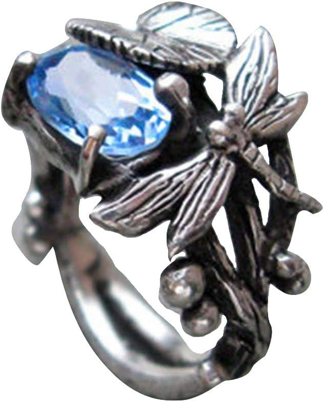Retro Vintage Dragonfly Lotus Leaf Nippon regular agency Statement Party Promise Long-awaited Ring