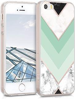 kwmobile Hülle kompatibel mit Apple iPhone SE (1.Gen 2016) / 5 / 5S   Handyhülle   Handy Case Marmor Mintgrün Rosegold Weiß